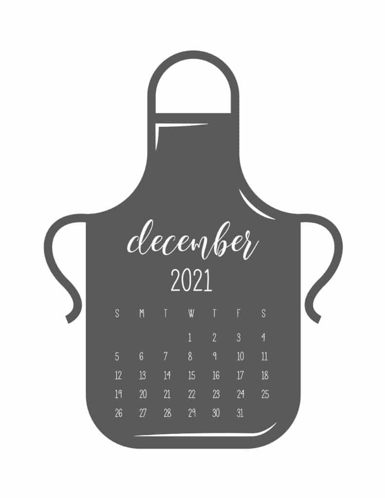 Kitchen Apron December 2021 Calendar