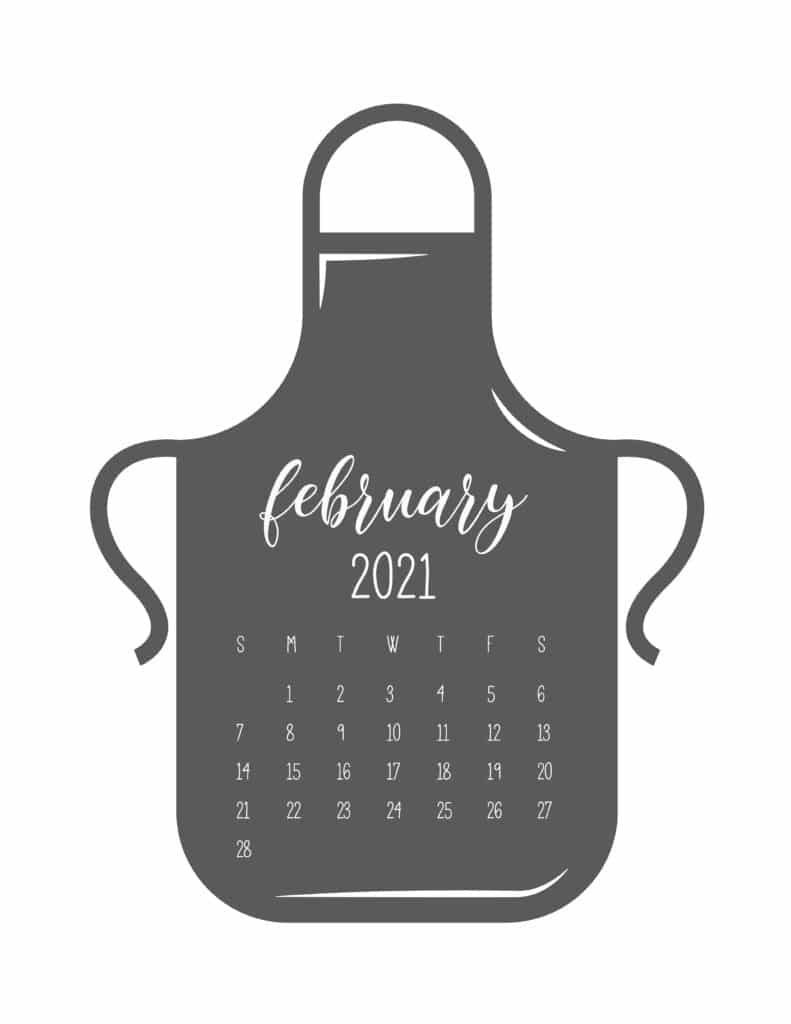 Kitchen Apron February 2021 Calendar