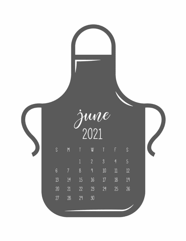 Kitchen Apron June 2021 Calendar
