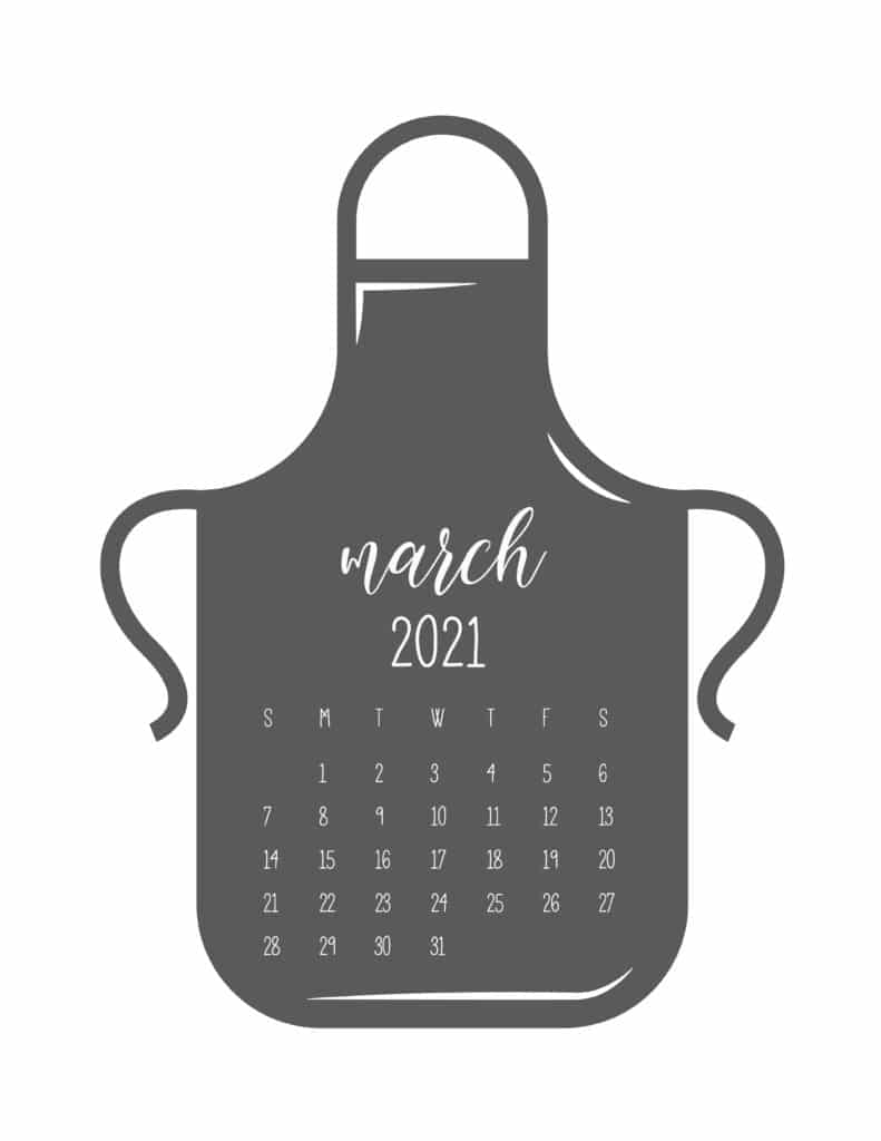 Kitchen Apron March 2021 Calendar