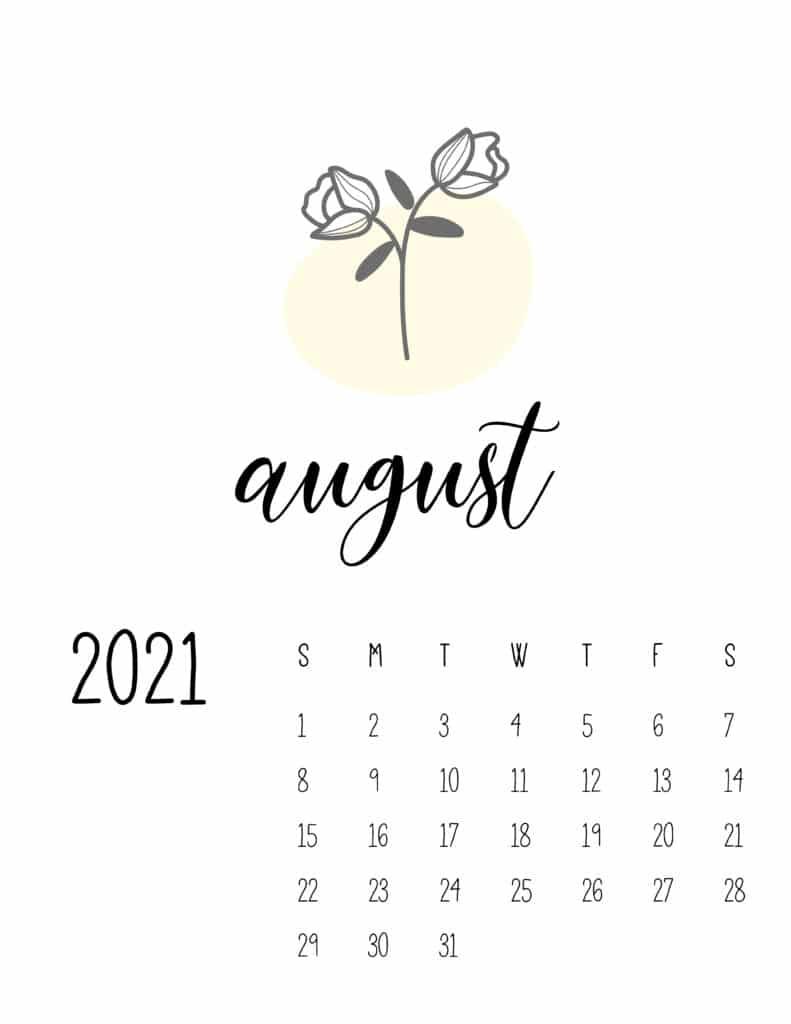 Little Botanical August 2021 Calendar