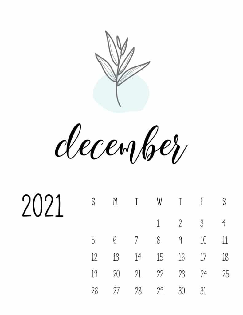 Little Botanical December 2021 Calendar
