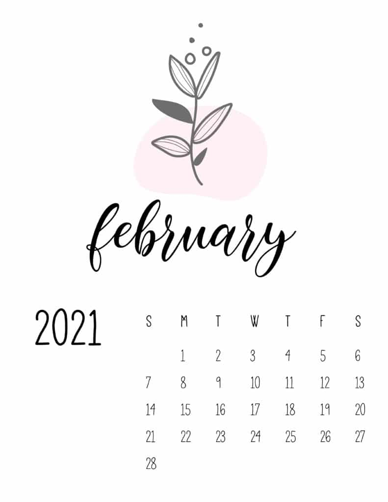 Little Botanical February 2021 Calendar