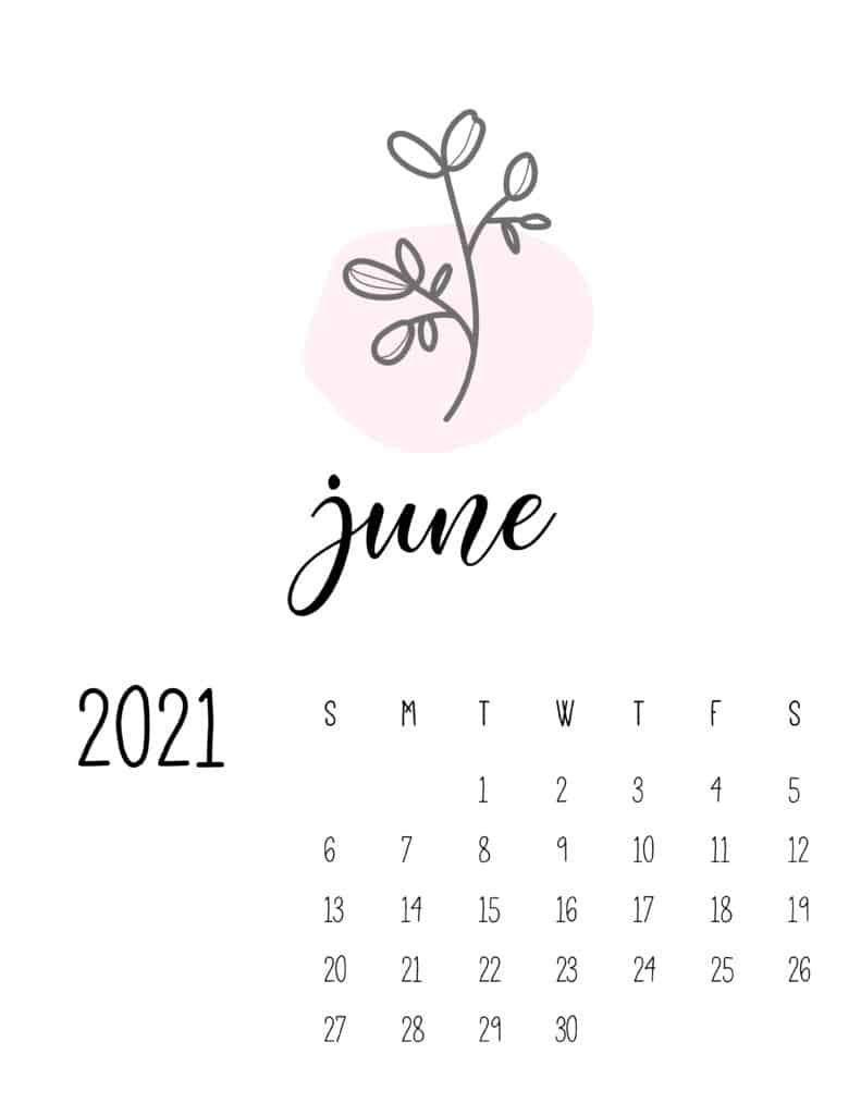 Little Botanical June 2021 Calendar