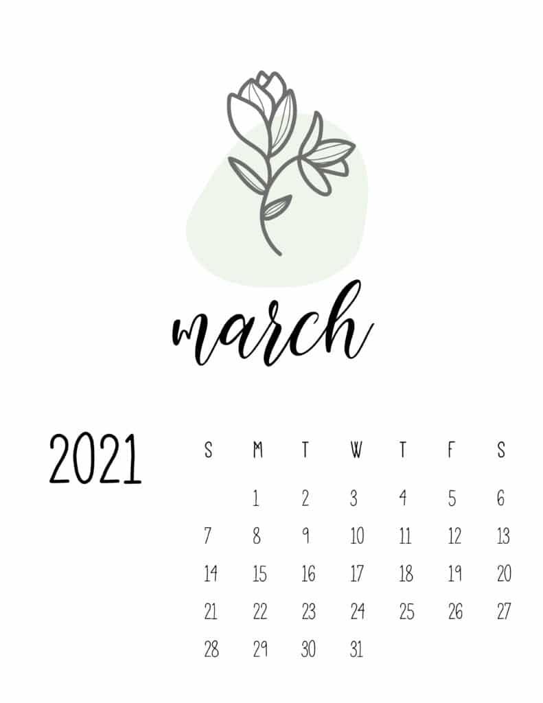 Little Botanical March 2021 Calendar