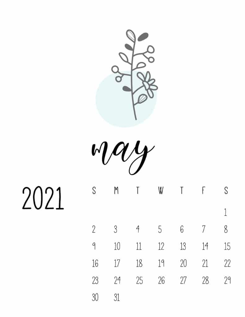 Little Botanical May 2021 Calendar