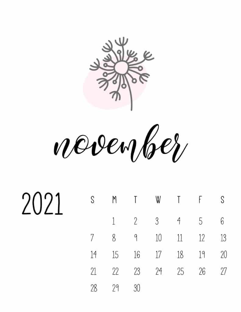 Little Botanical November 2021 Calendar