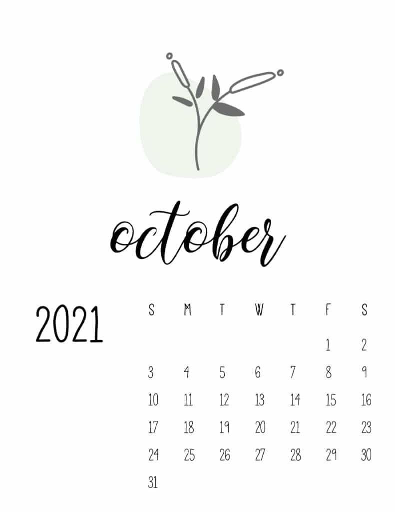 Little Botanical October 2021 Calendar