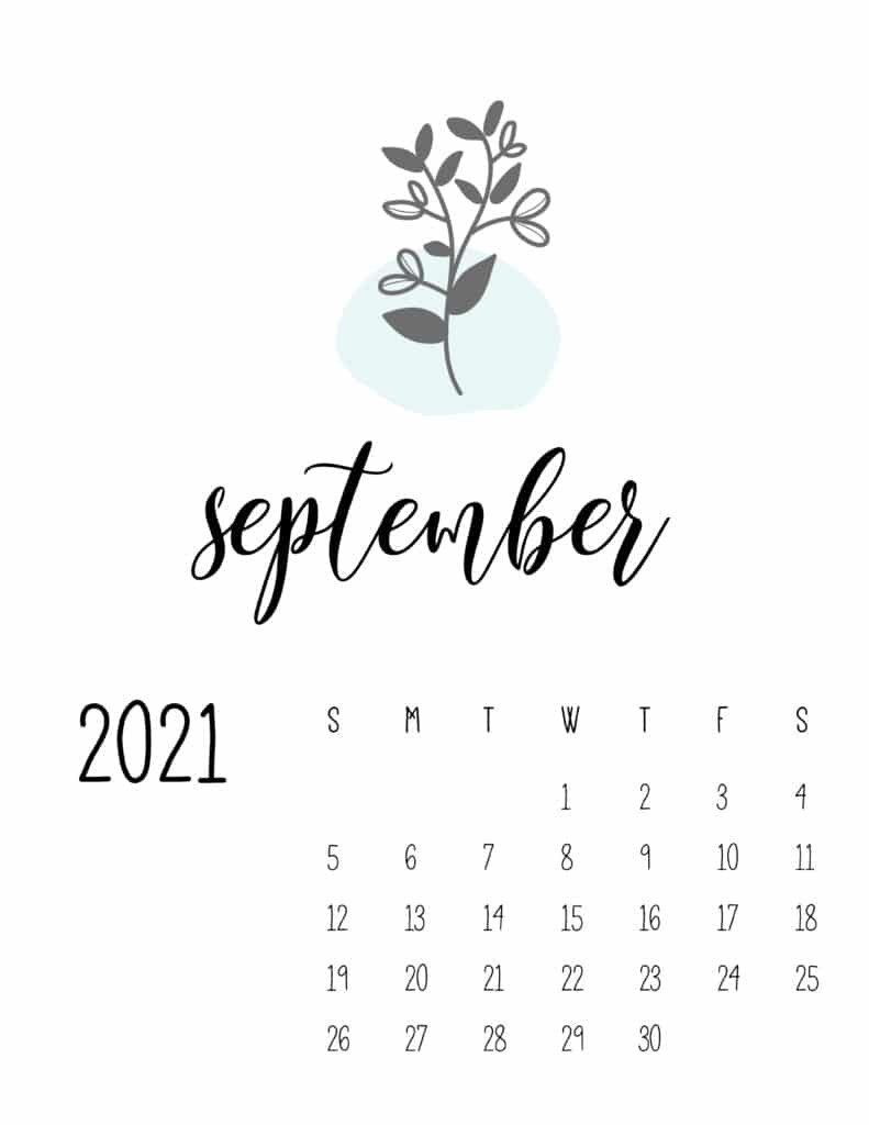 Little Botanical September 2021 Calendar