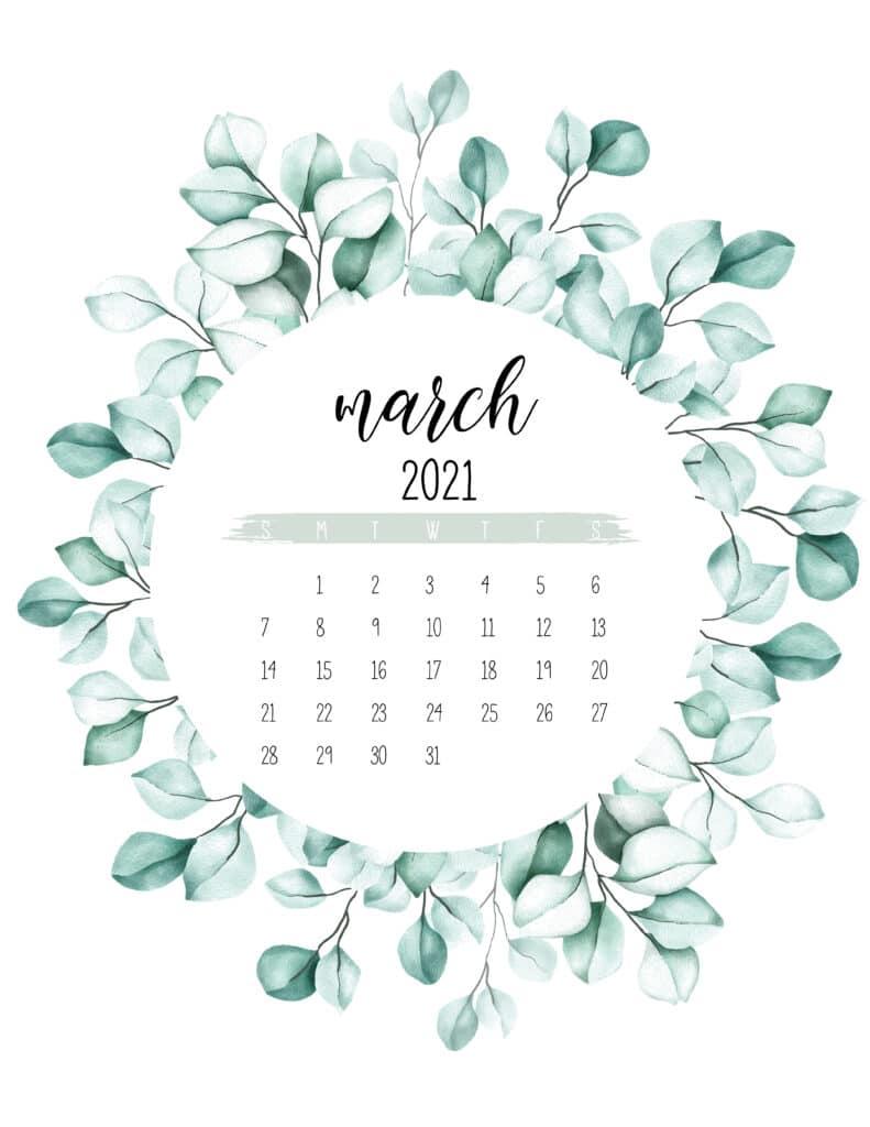 March 2021 Calendar Botanical Theme