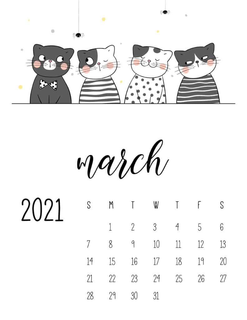 March 2021 Calendar Cute Cats