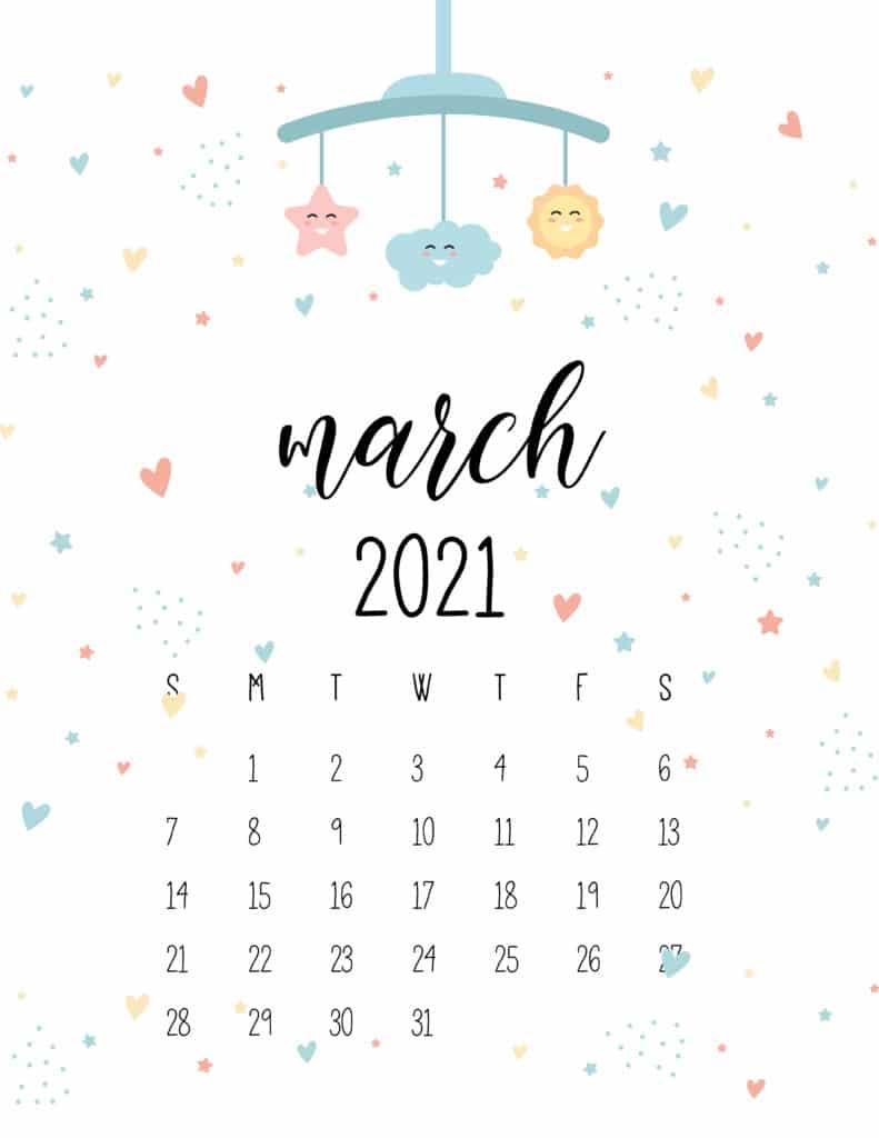 March 2021 Calendar Cute Nursery Mobile