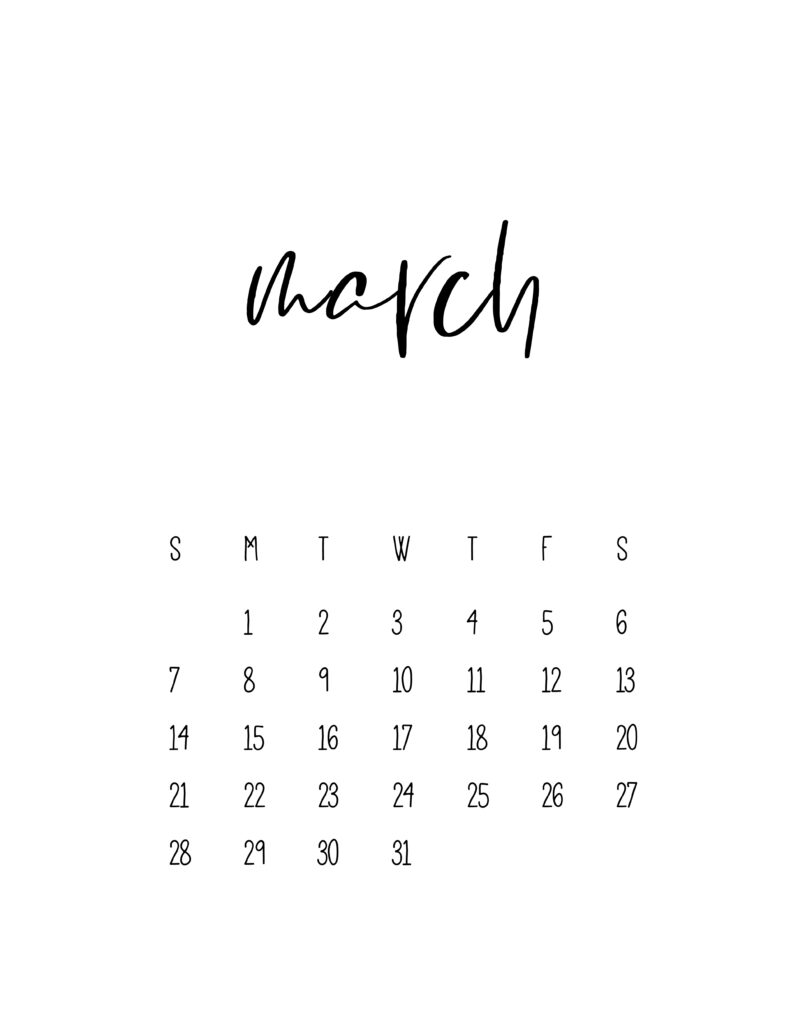 March 2021 Calendar Free Printable Template