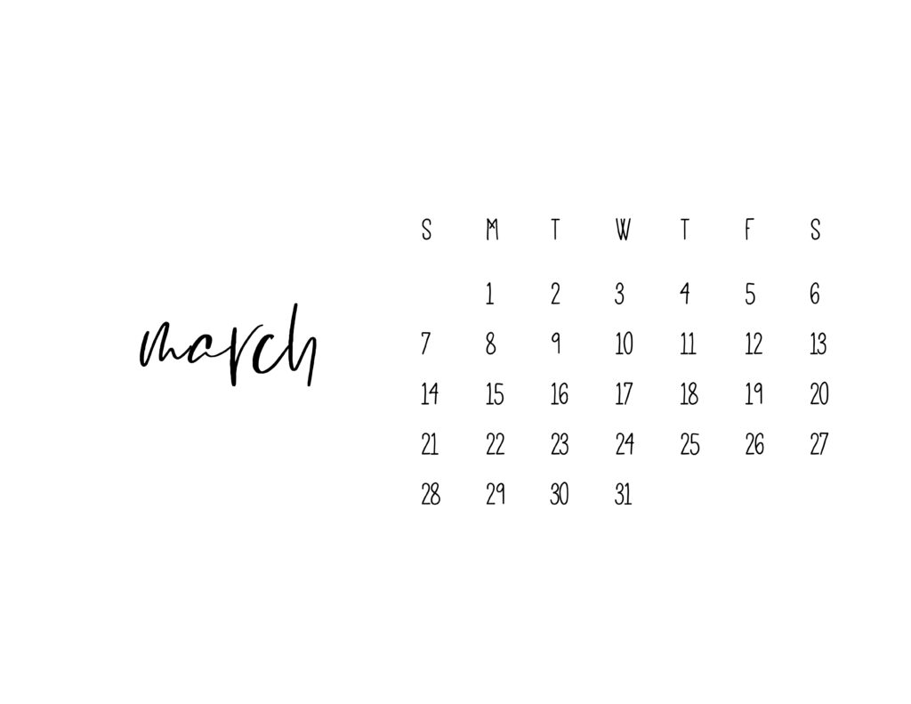 March 2021 Calendar Printable Free Template