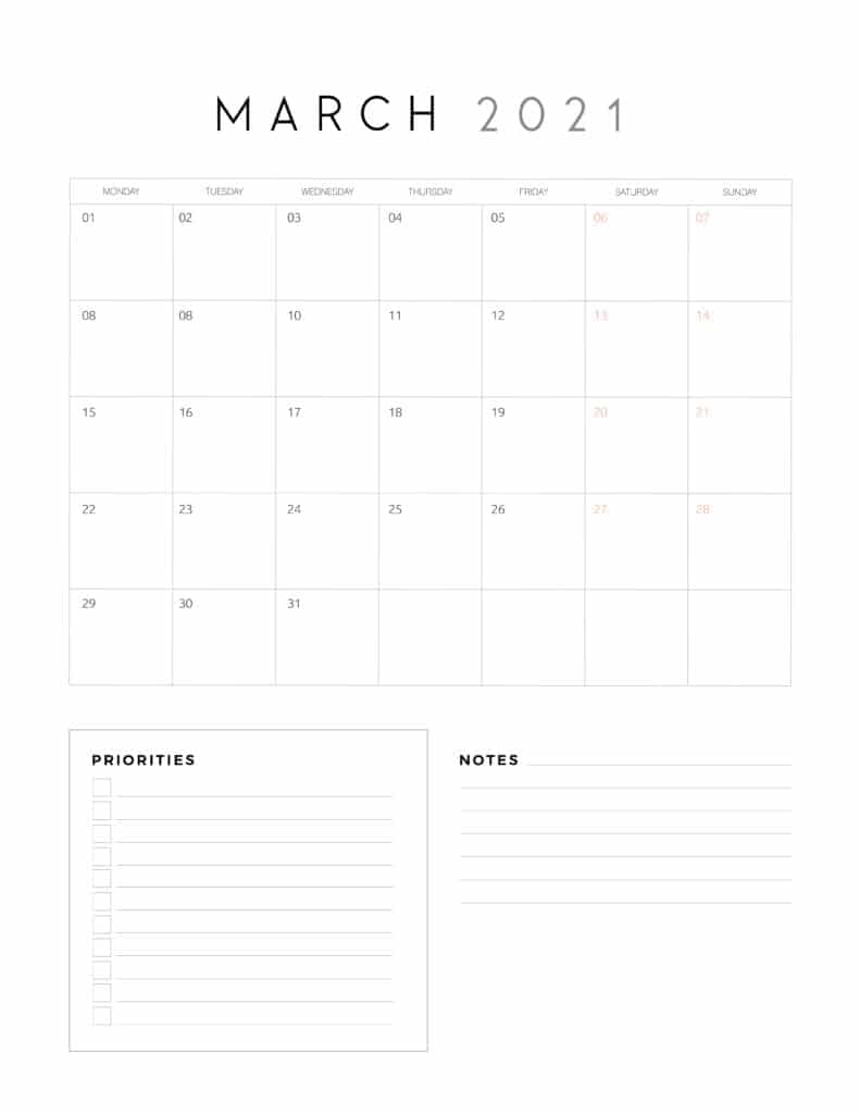 March 2021 Calendar With Priorities And Notes