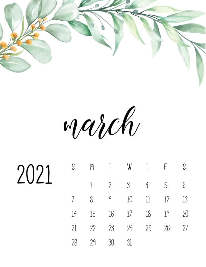 March 2021 Floral Calendar