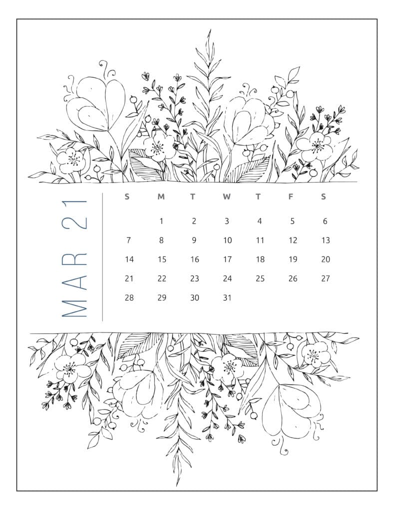 March 2021 Free Printable Calendar Floral Style