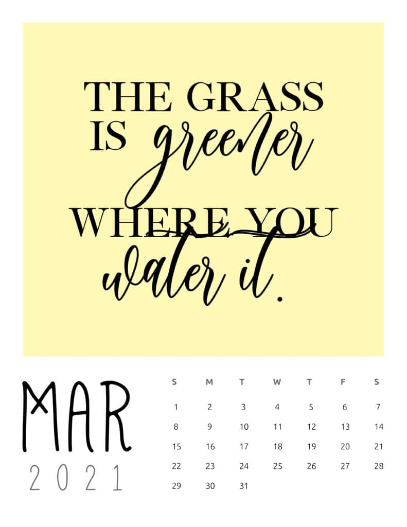 March 2021 Inspirational Quotes Calendar