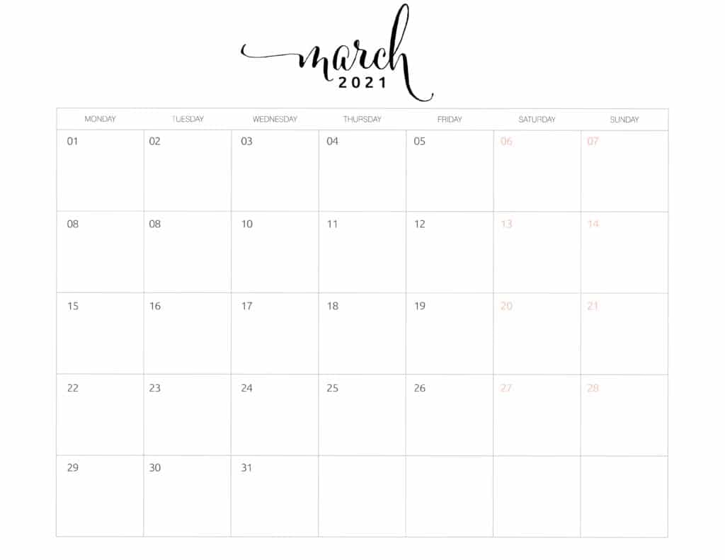 March 2021 Monthly Calendar Monday Start