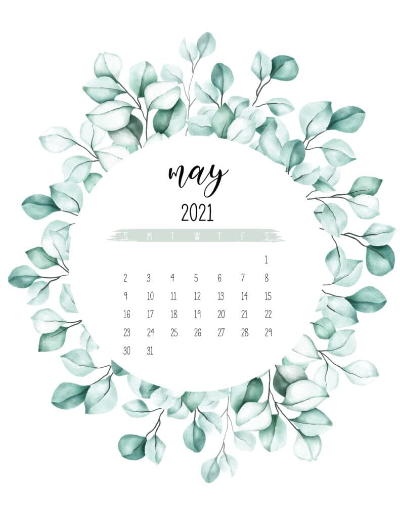 May 2021 Calendar Botanical Theme