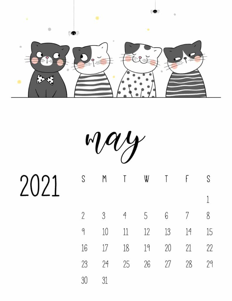 May 2021 Calendar Cute Cats