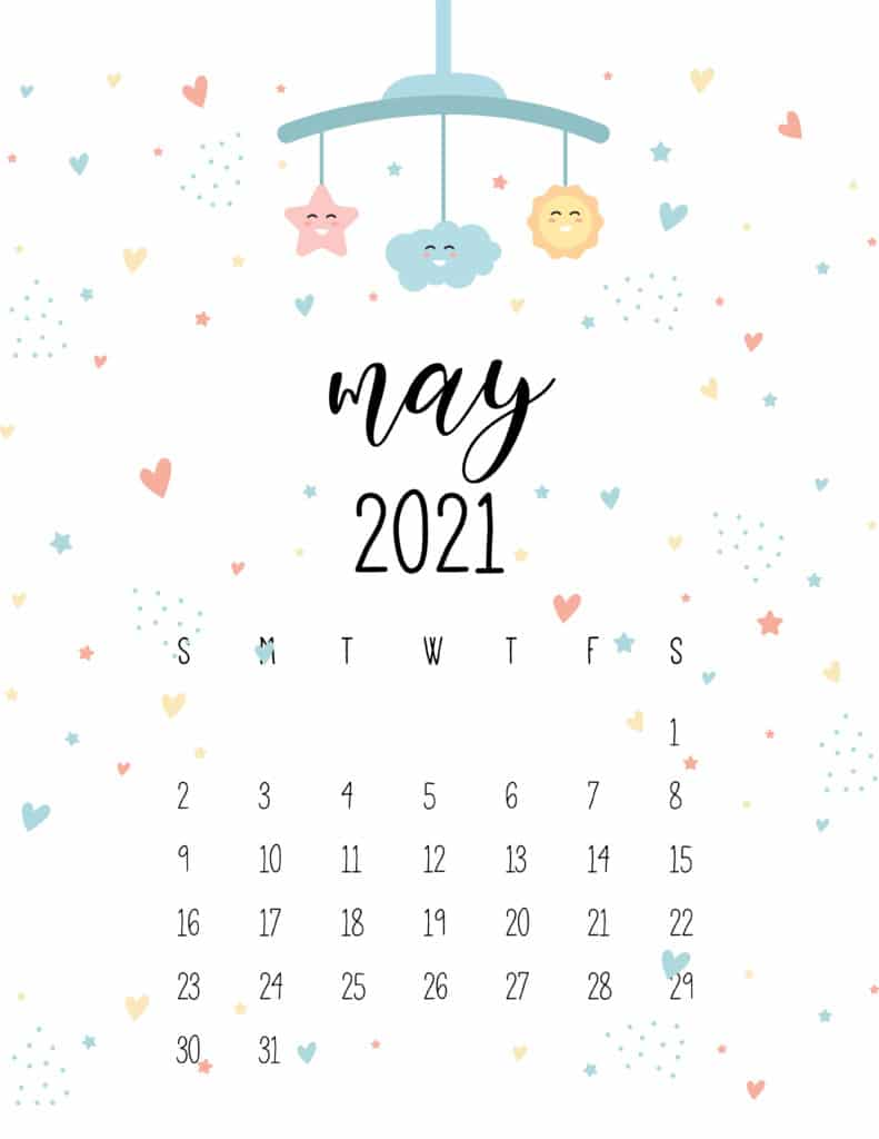 May 2021 Calendar Cute Nursery Mobile