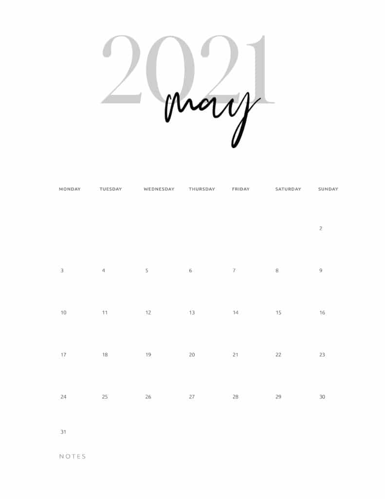 May 2021 Calendar Printable Cursive