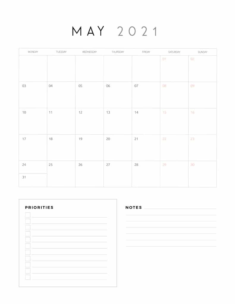 May 2021 Calendar With Priorities And Notes