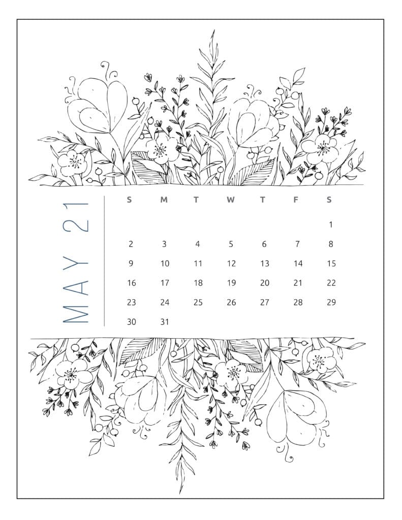 May 2021 Free Printable Calendar Floral Style