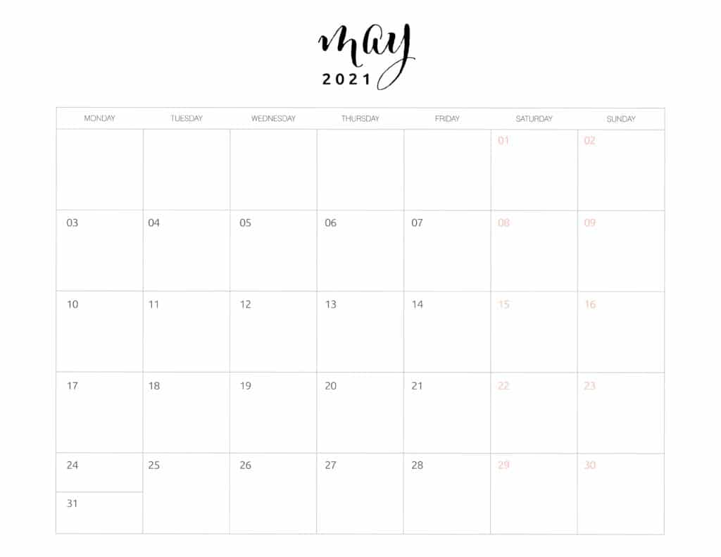 May 2021 Monthly Calendar Monday Start