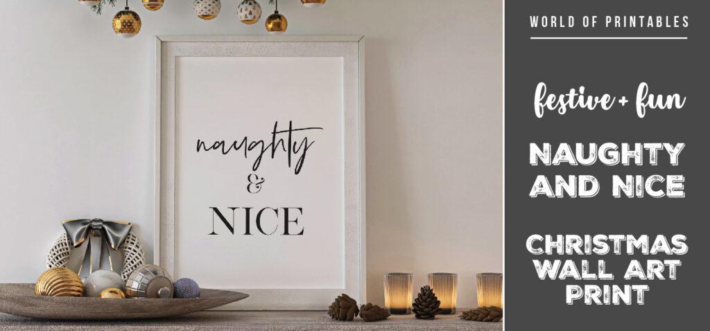 Free Stylish and Fun Naughty and Nice Christmas Wall Art Print