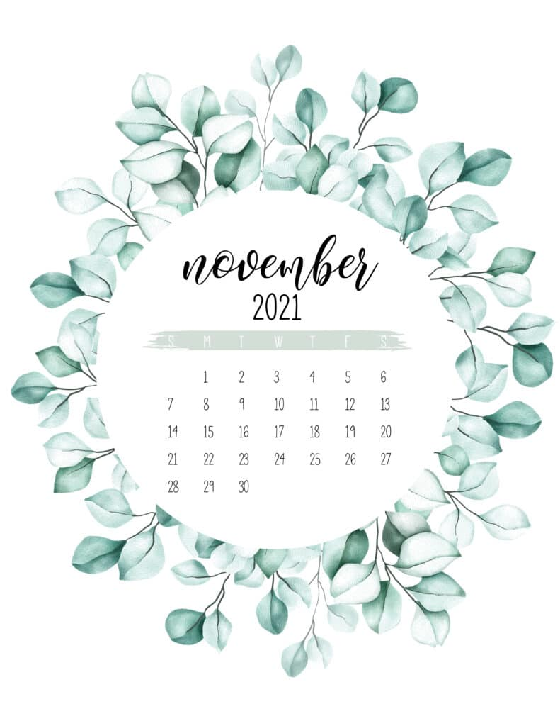 November 2021 Calendar Botanical Theme