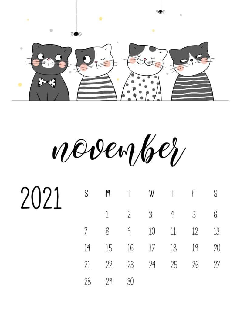 November 2021 Calendar Cute Cats