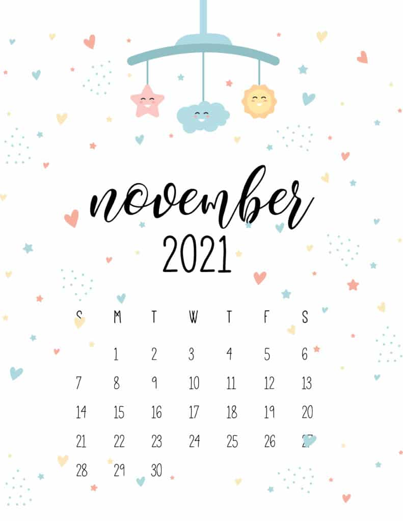 November 2021 Calendar Cute Nursery Mobile