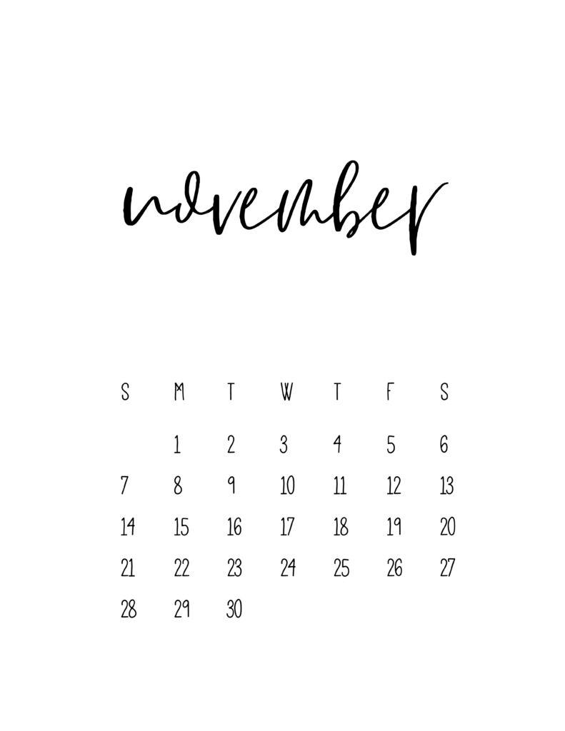 November 2021 Calendar Free Printable Template