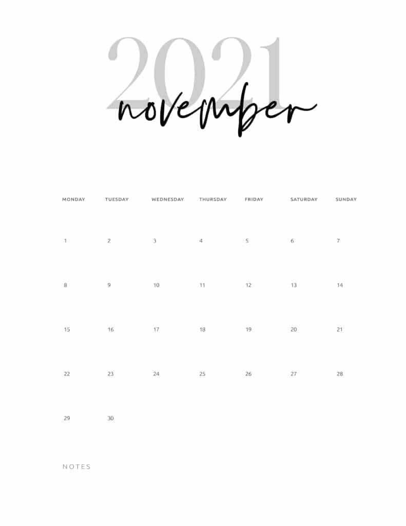 November 2021 Calendar Printable Cursive