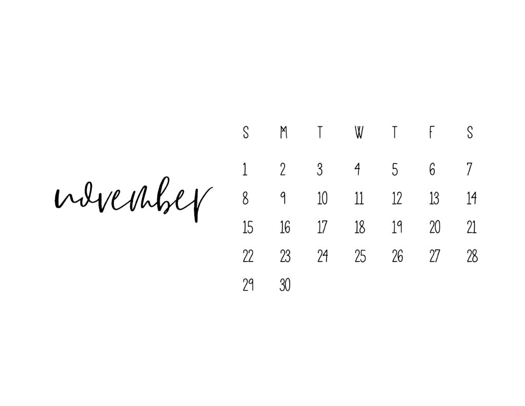 November 2021 Calendar Printable Free Template