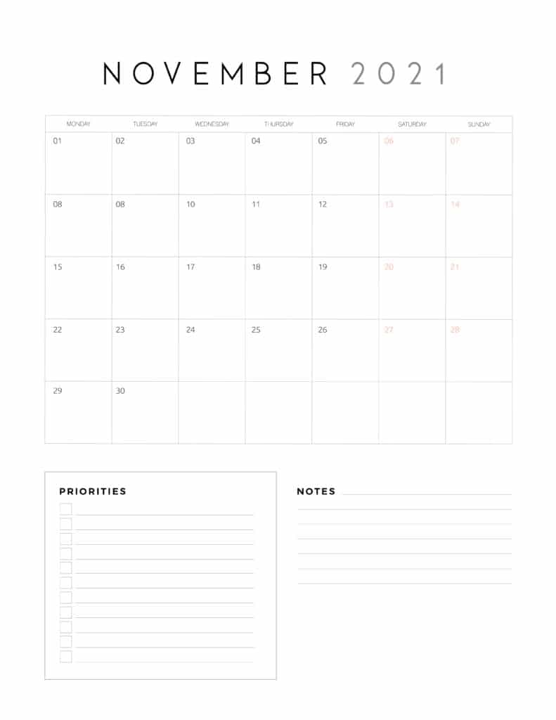 November 2021 Calendar With Priorities And Notes