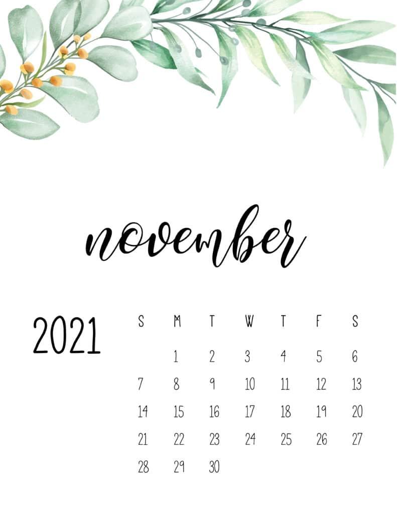 November 2021 Floral Calendar