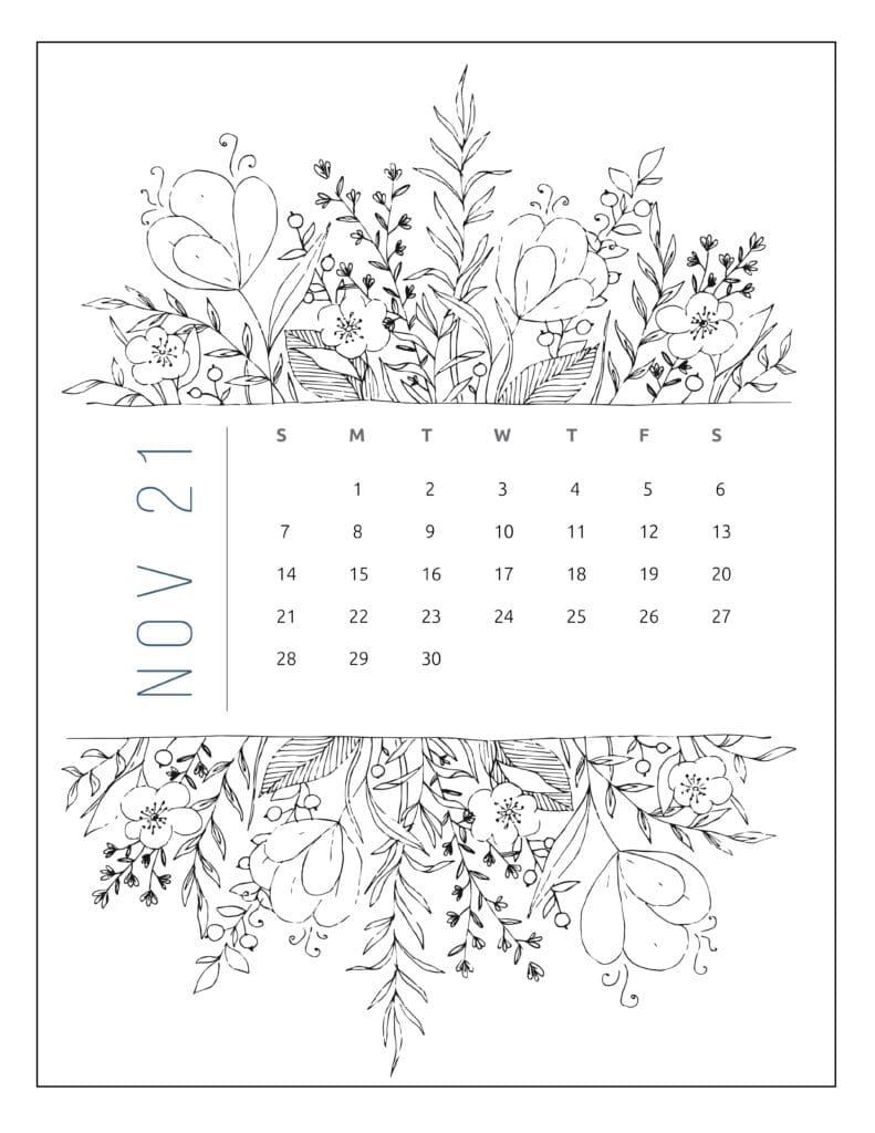 November 2021 Free Printable Calendar Floral Style