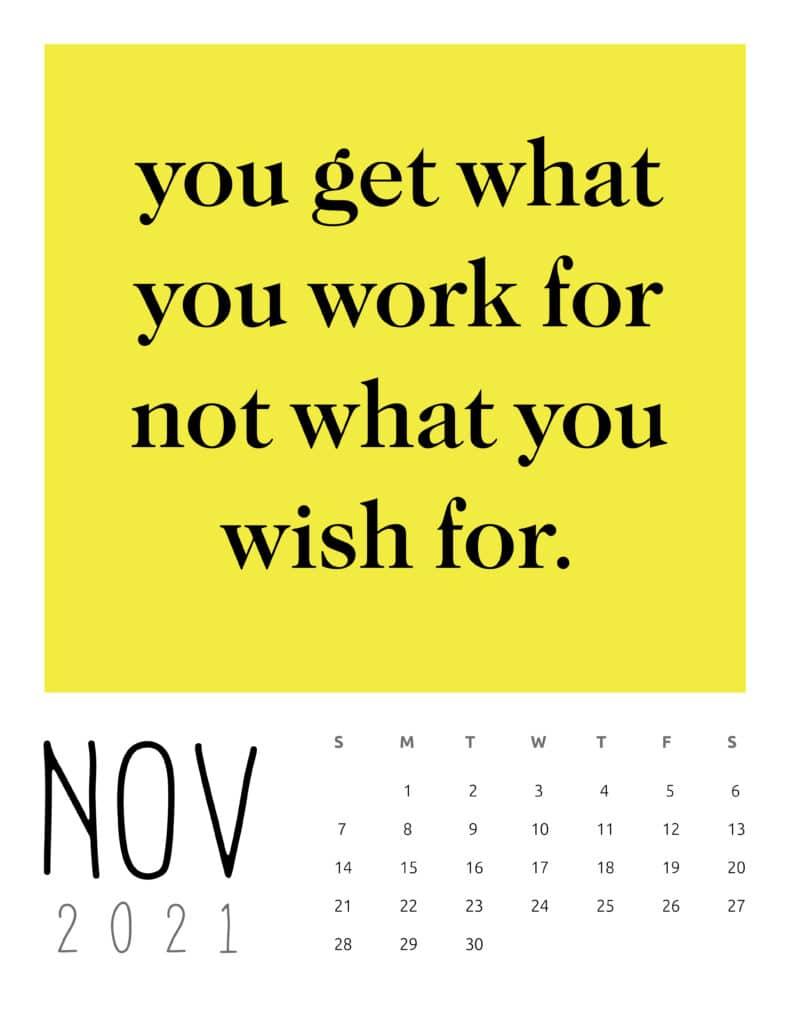 November 2021 Inspirational Quotes Calendar