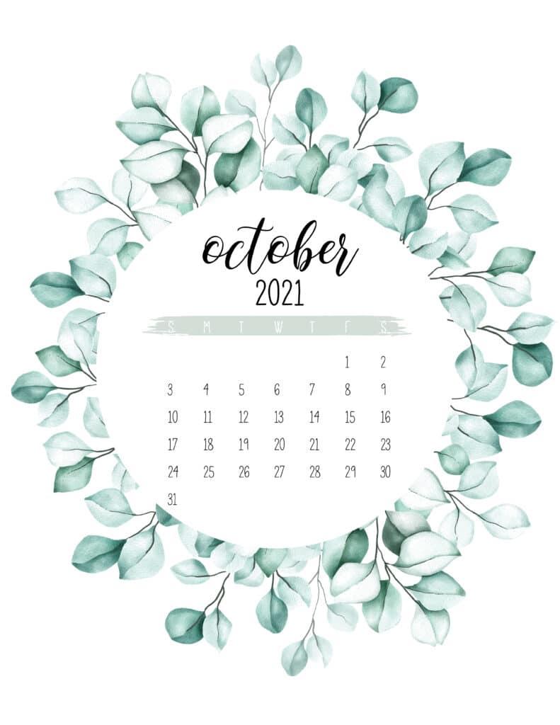 October 2021 Calendar Botanical Theme