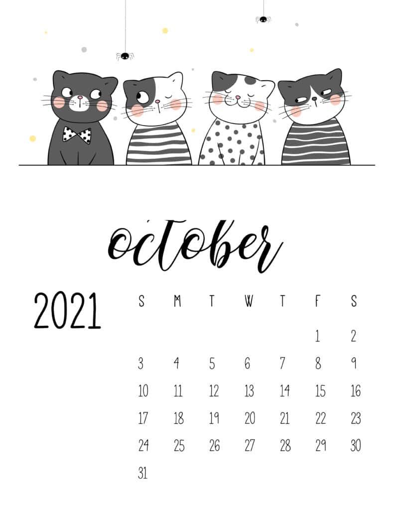 October 2021 Calendar Cute Cats