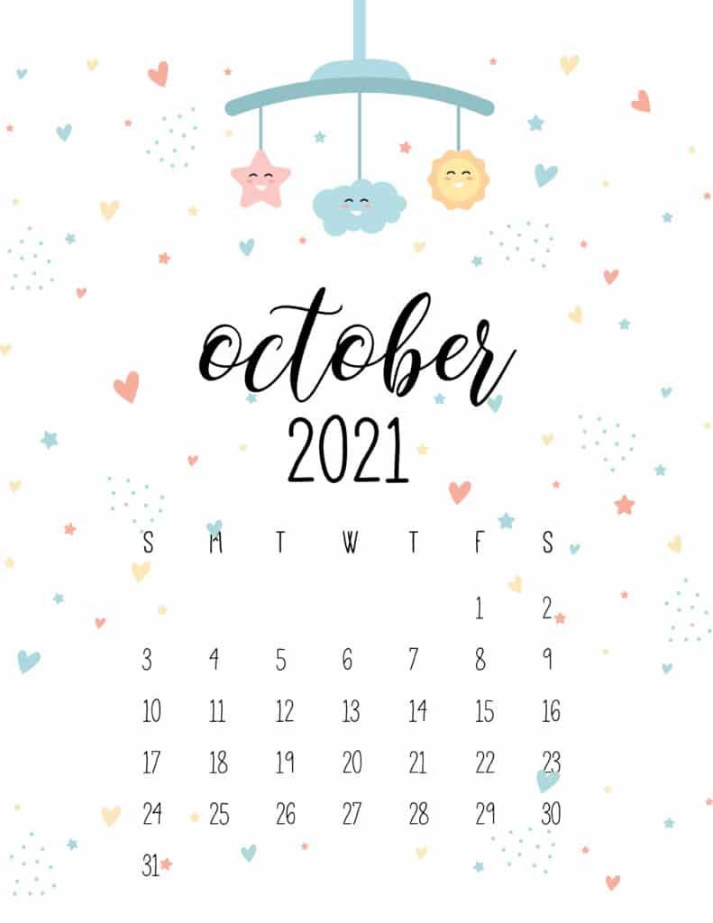 October 2021 Calendar Cute Nursery Mobile