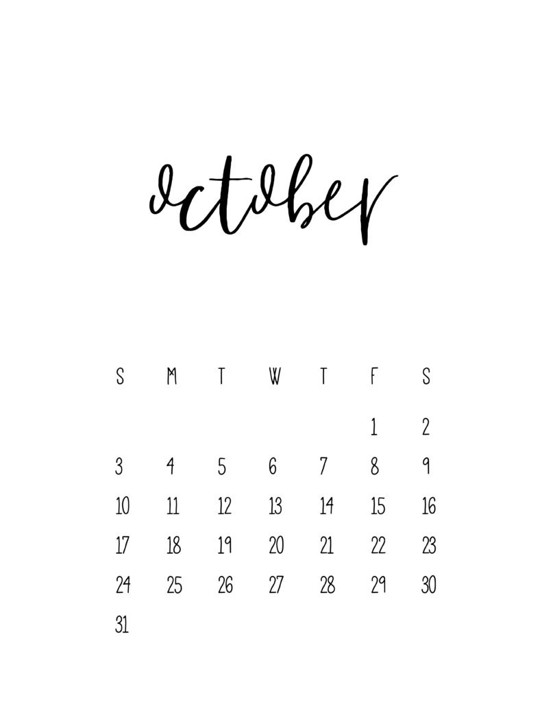 October 2021 Calendar Free Printable Template