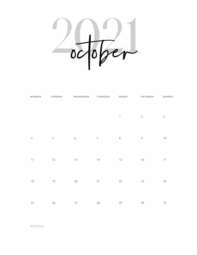 October 2021 Calendar Printable Cursive