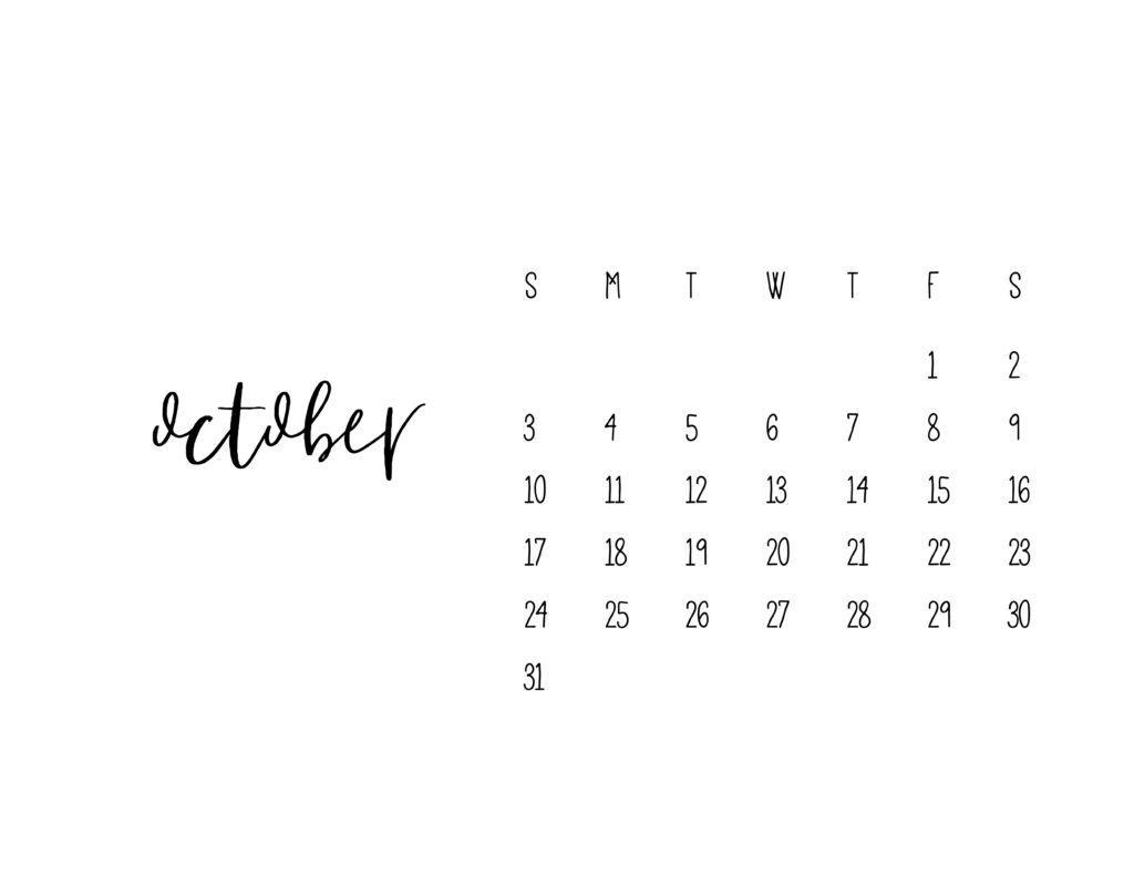 October 2021 Calendar Printable Free Template
