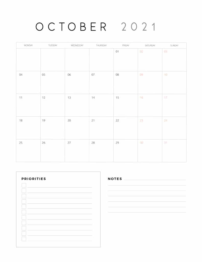 October 2021 Calendar With Priorities And Notes