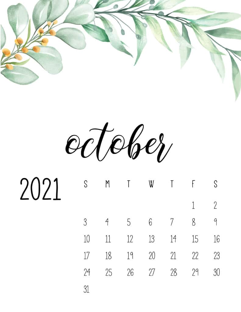 October 2021 Floral Calendar