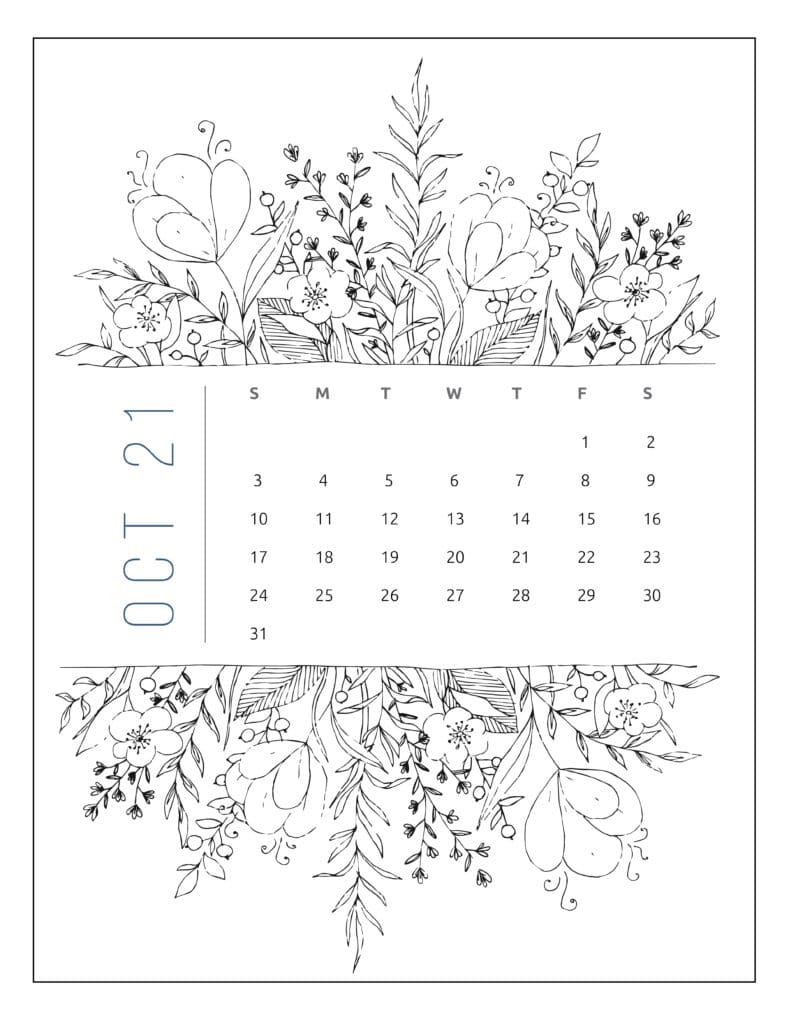 October 2021 Free Printable Calendar Floral Style